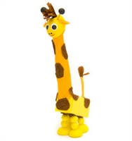 A Giraffe with 2 pieces of Chocolate
